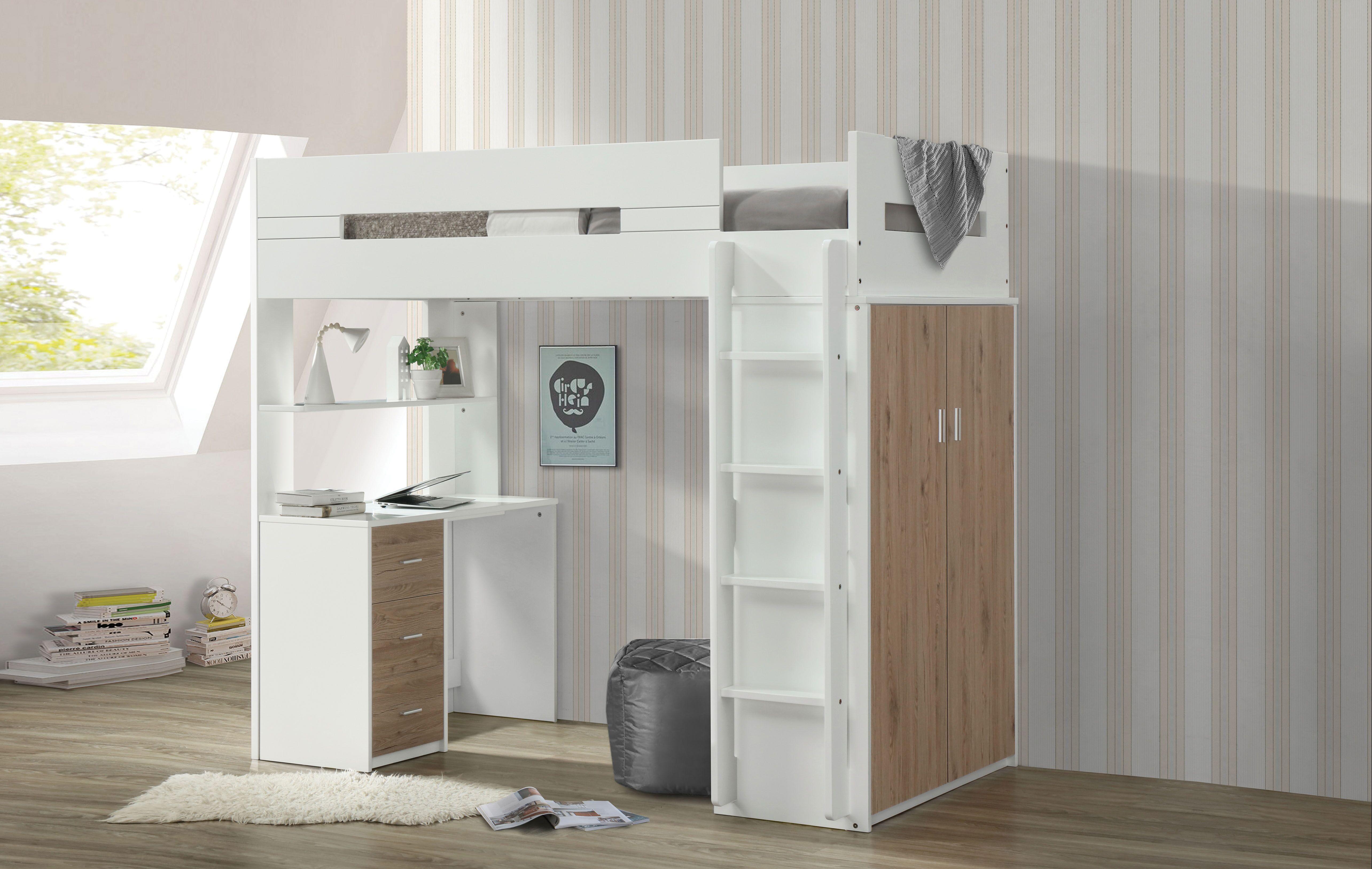AC 38055 WHITE WALNUT LOFT BED