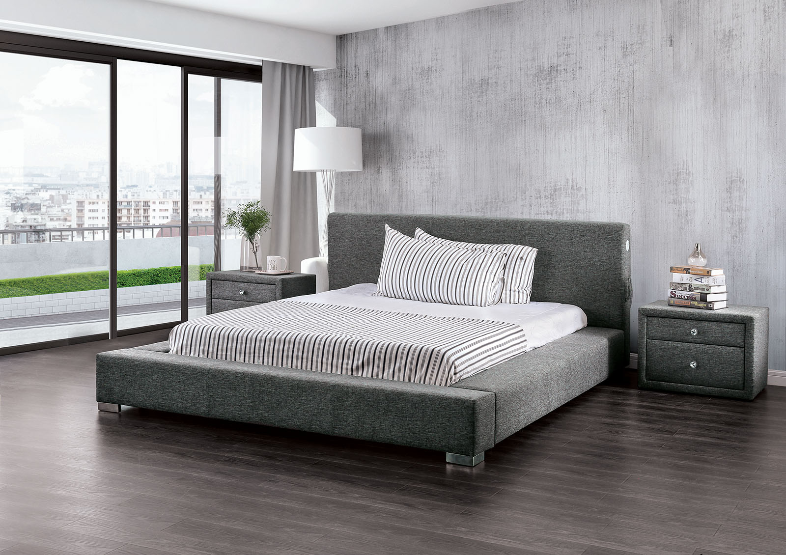 Canaves Dark Grey Modern Low Profile Bed Collection
