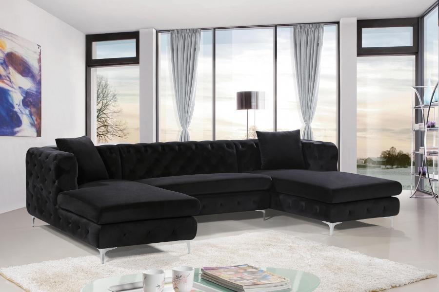 Gail Black Velvet 3pc Sectional Las Vegas Furniture