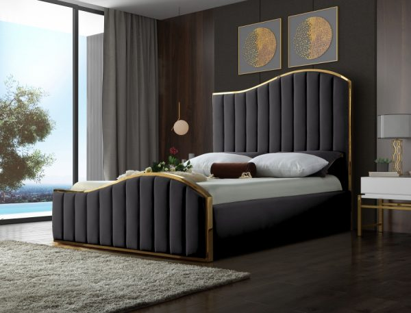 Jolie Velvet Gold Trim Bed Frame Las Vegas Furniture