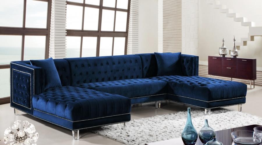 Moda Blue Velvet Double Chaise Sectional