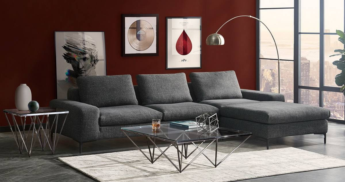 Flux Grey Fabric Sectional Las Vegas Furniture Store Modern Home Furniture Cornerstone Furniture