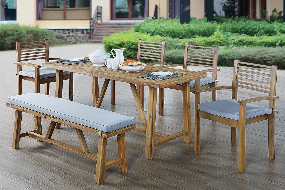 Natural Wood 6pc Patio Dining Set | Las Vegas Furniture ...