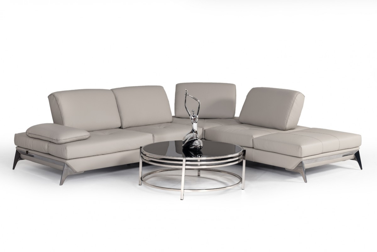 Nova Domus Andrea Modern Grey Leather Sectional Sofa