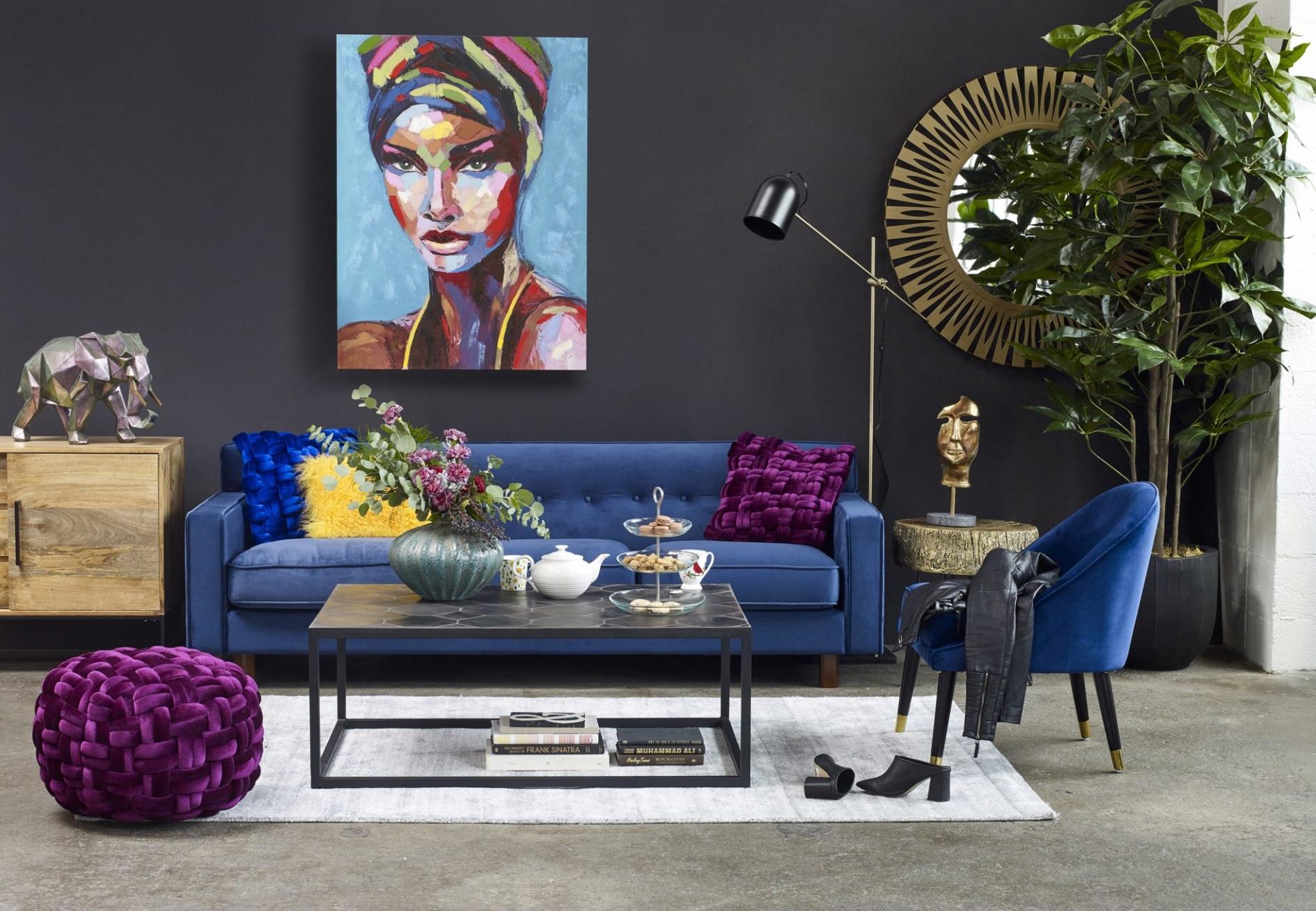 Buckingham Blue Velvet Sofa Las Vegas Furniture Store