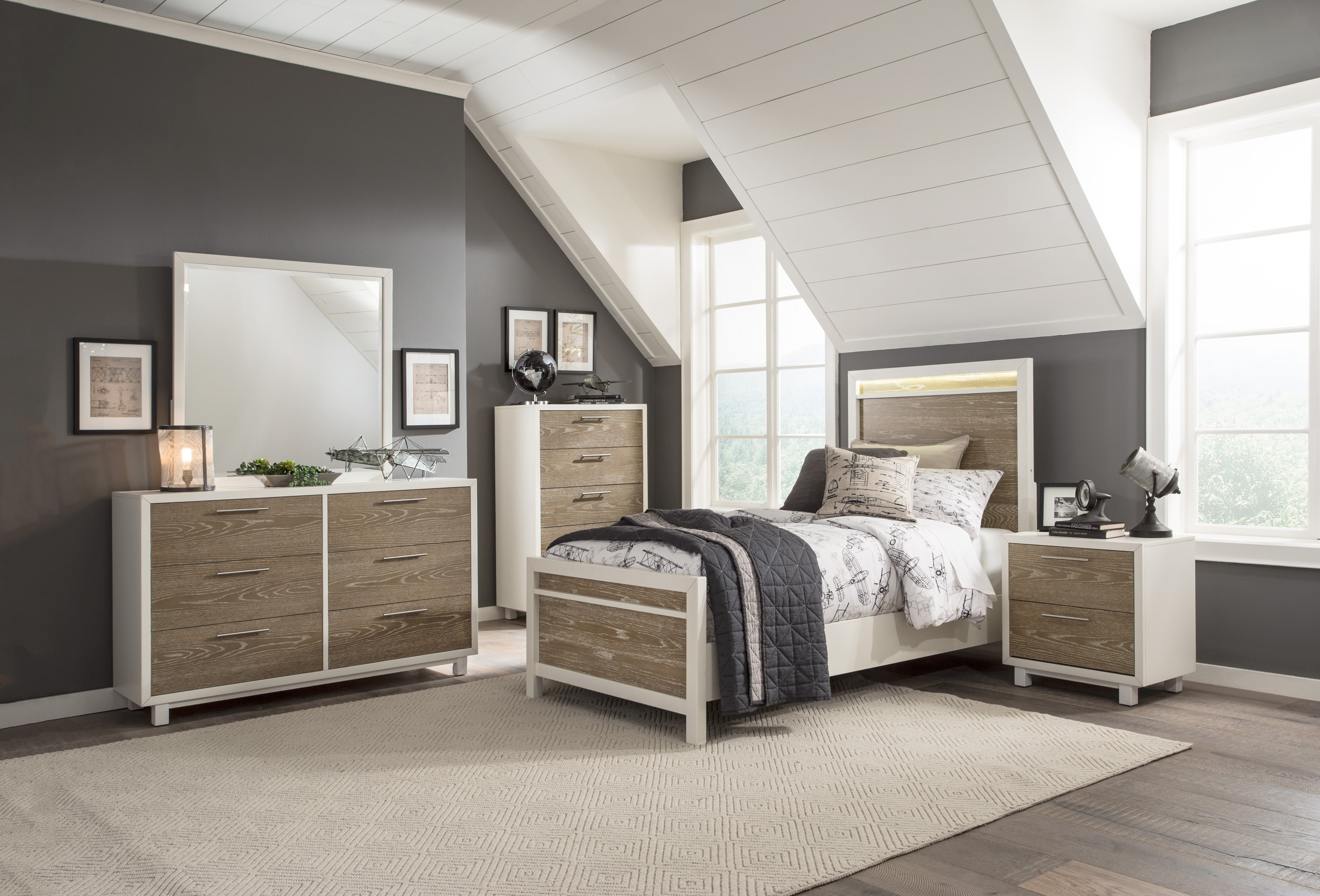 renly twin & full bedroom collection with led lighting