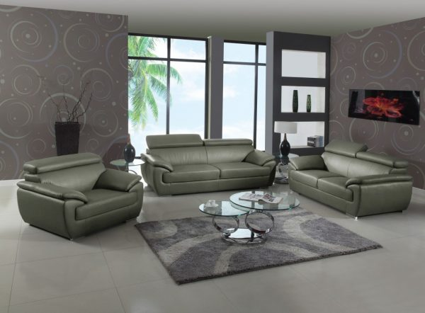 Naples Grey Leather Living Room Las Vegas Furniture