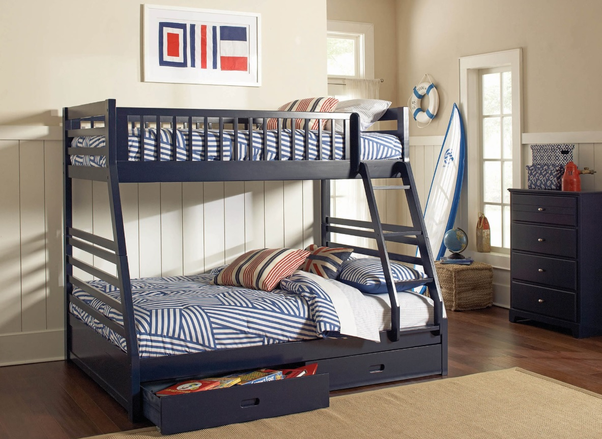 Ashton Navy Blue Wood Bunk Bed