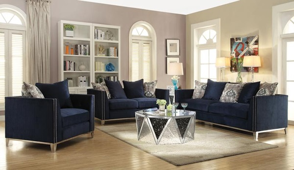 Phaedra Blue Fabric Sofa Collection Las Vegas Furniture