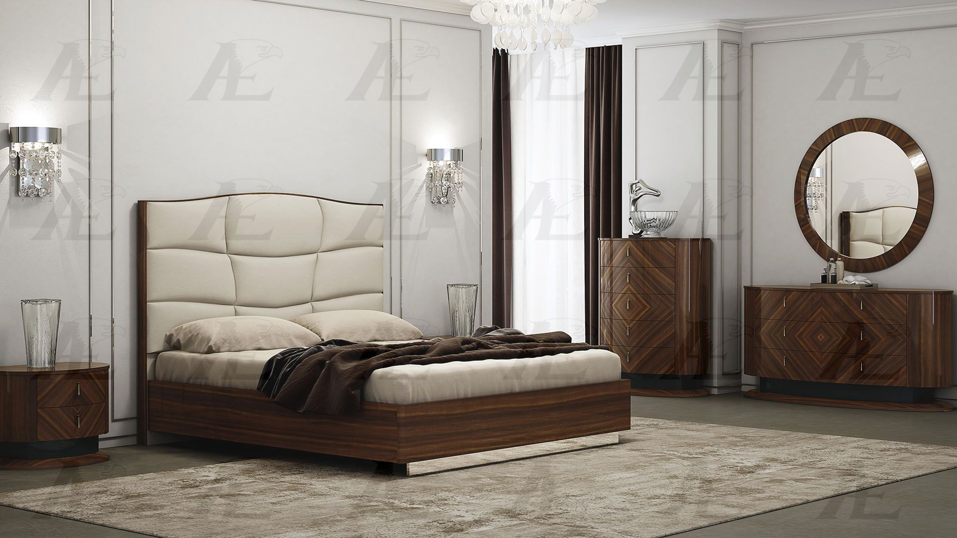 Lorenzo Mahogany Finish Bedroom Collection | Las Vegas ...