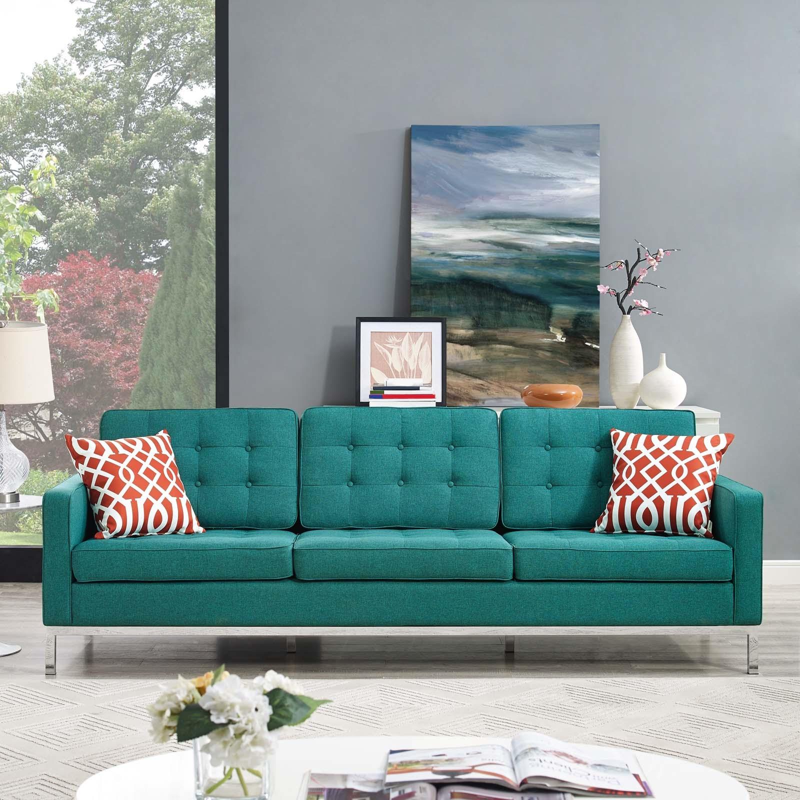Loft Teal Upholstered Fabric Sofa Las Vegas Furniture