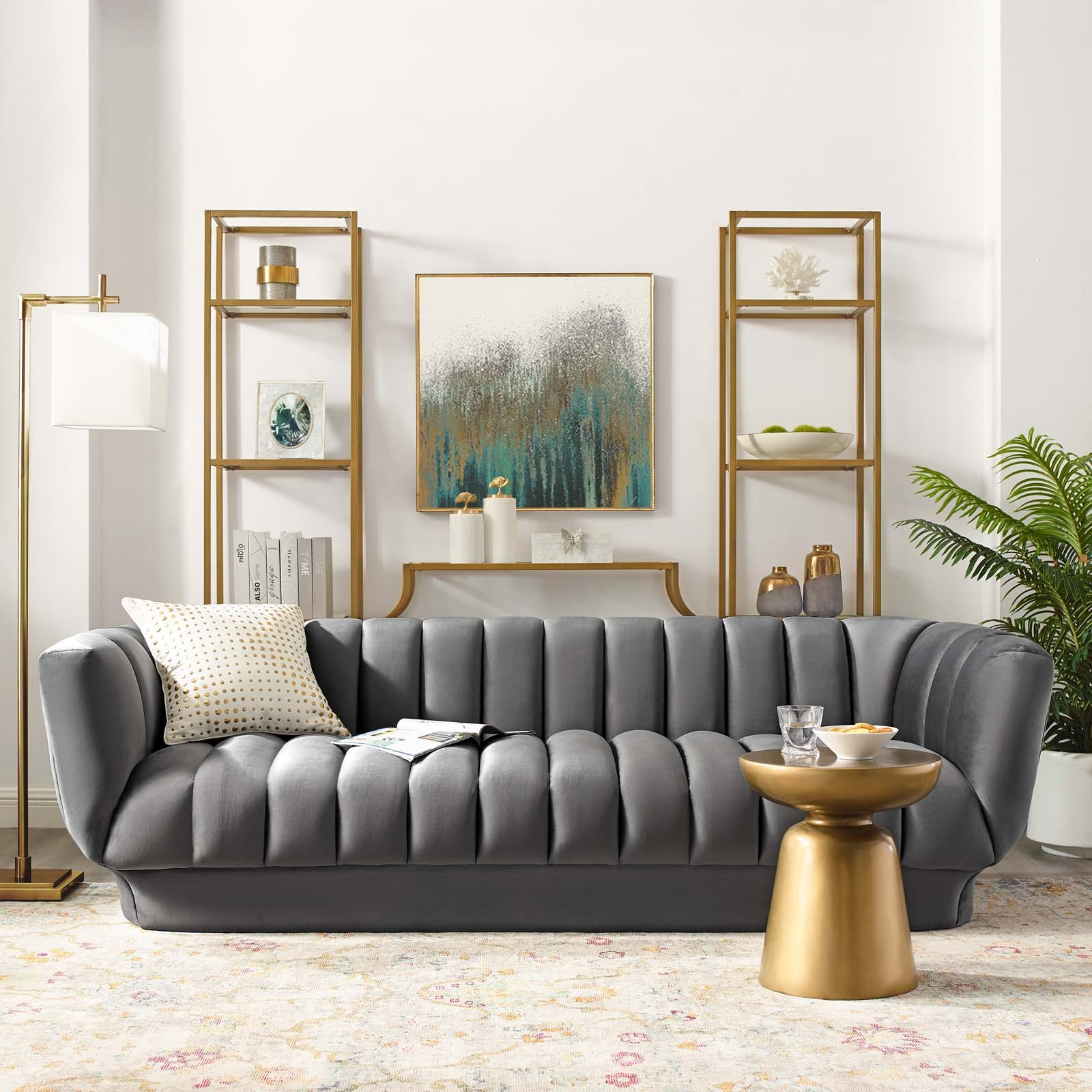 Entertain Grey Tufted Performance Velvet Sofa | Las Vegas ...