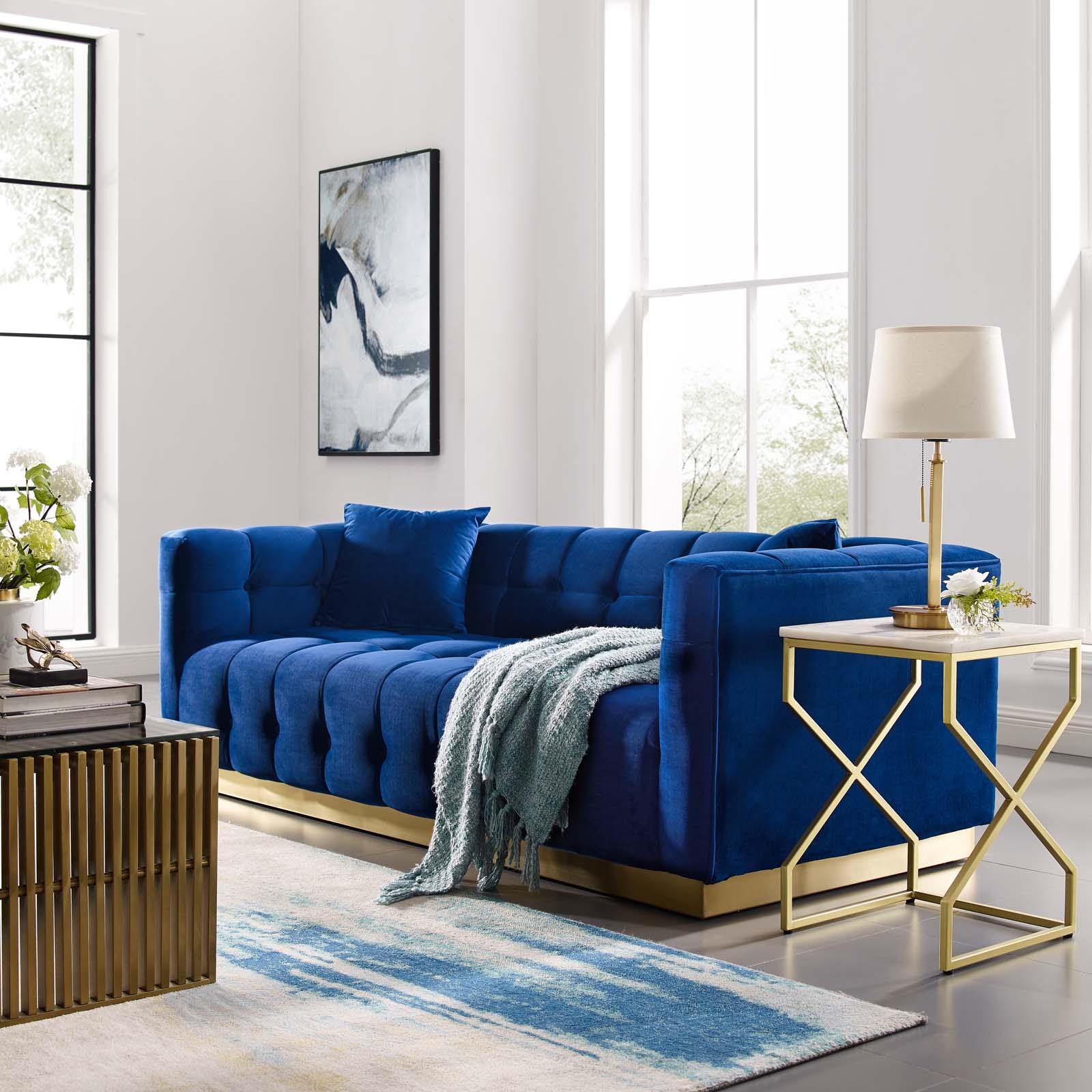 Vivacious Biscuit Tufted Navy Velvet Sofa Las Vegas Furniture Store Modern Home Furniture Cornerstone Furniture