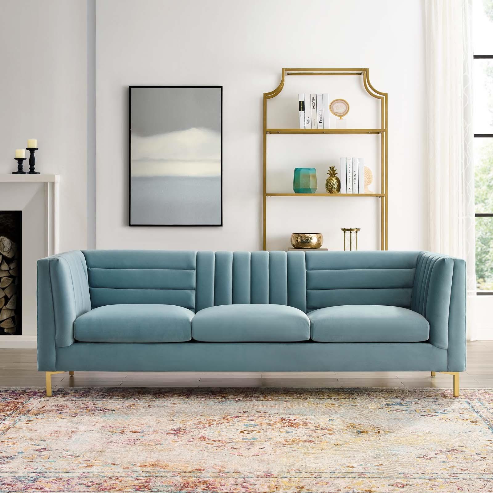 Ingenuity Channel Tufted Light Blue Velvet Sofa Las