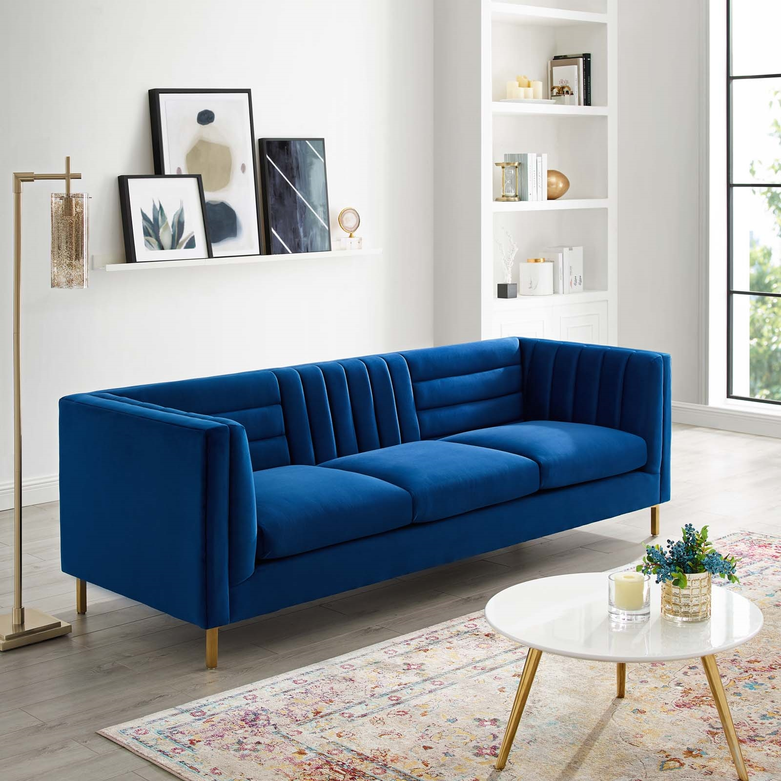 Admirable Ingenuity Channel Tufted Navy Velvet Sofa Creativecarmelina Interior Chair Design Creativecarmelinacom