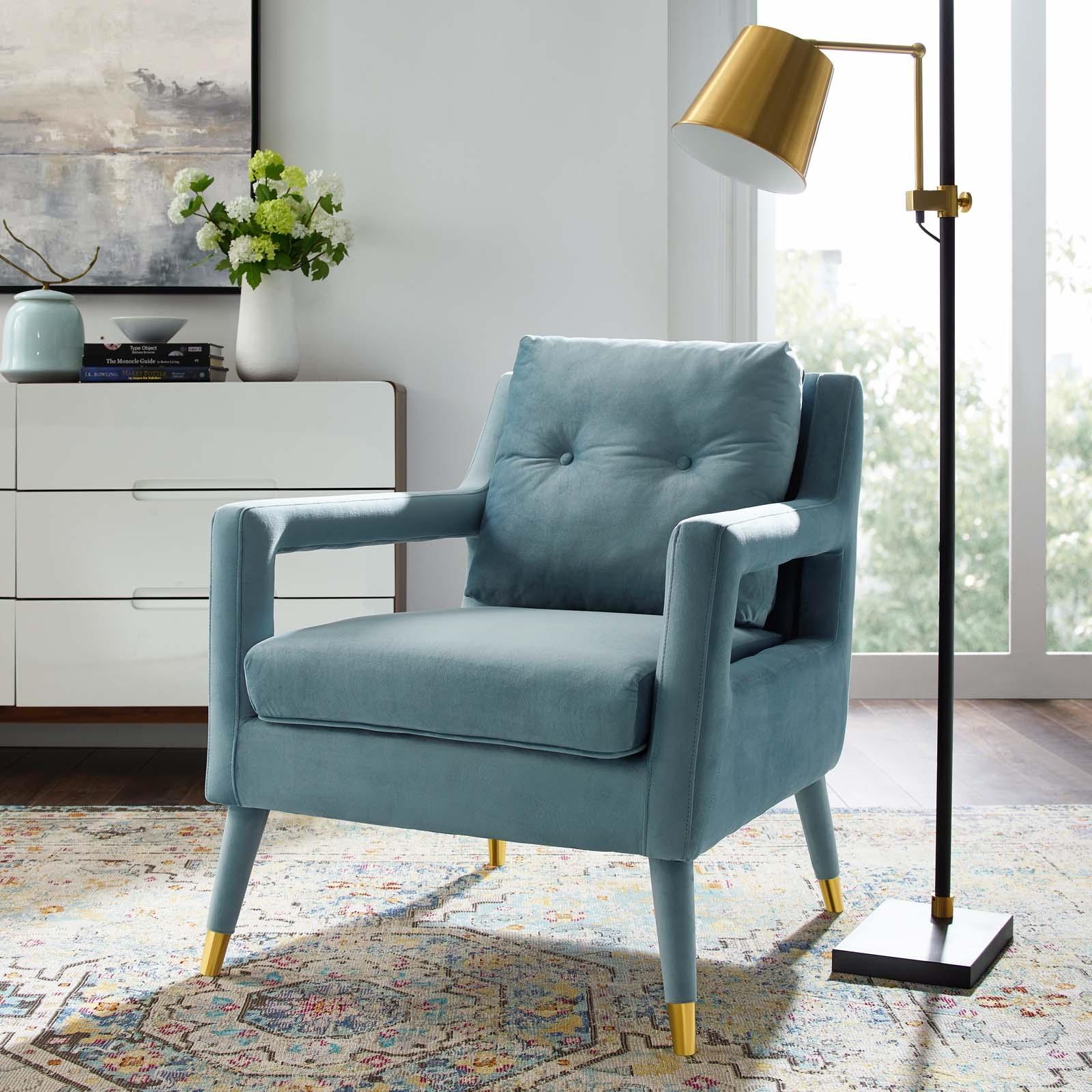 Premise Light Blue Velvet Accent Lounge Armchair Las