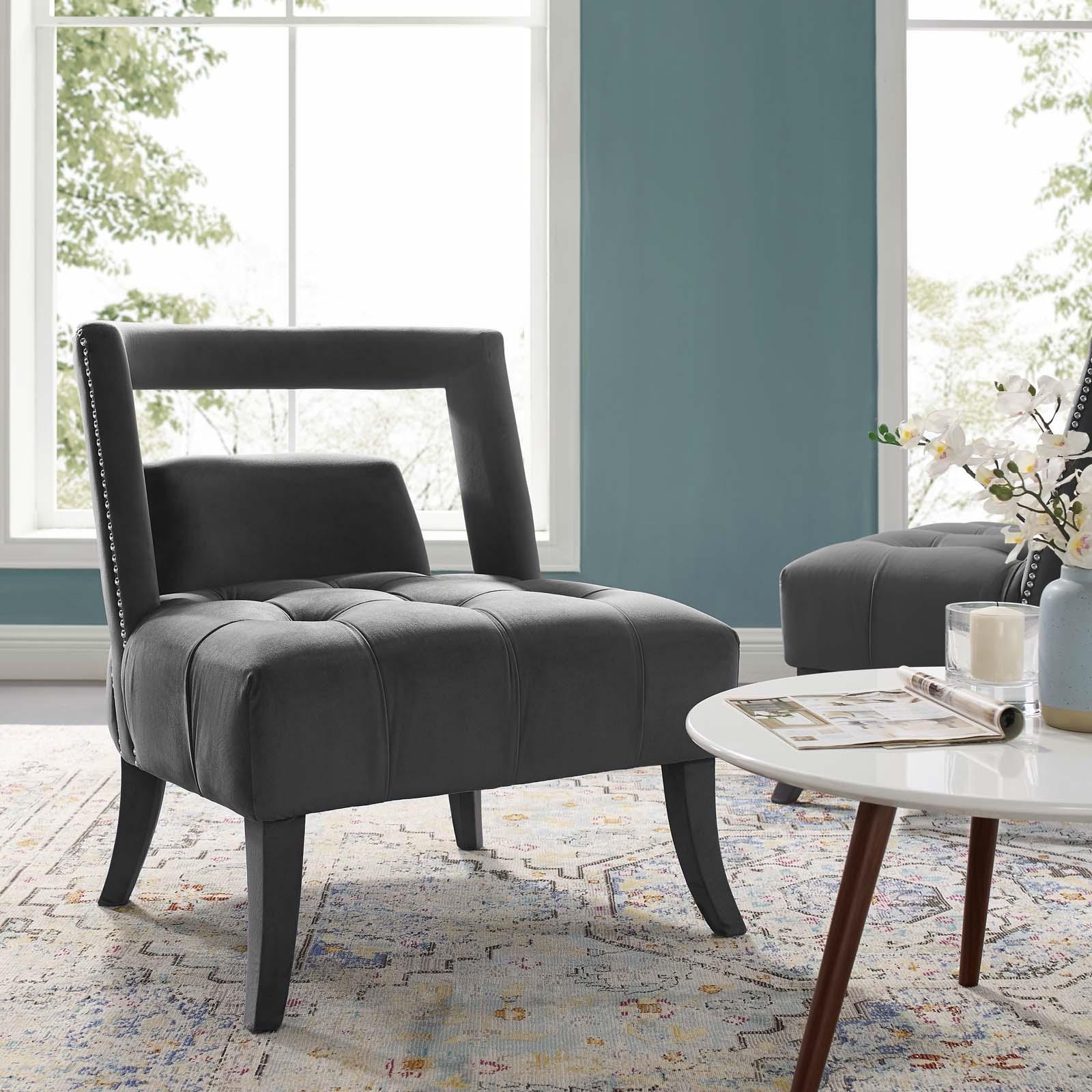 Furniture Factory Outlet Las Vegas: Honor Accent Lounge Grey Velvet Armchair