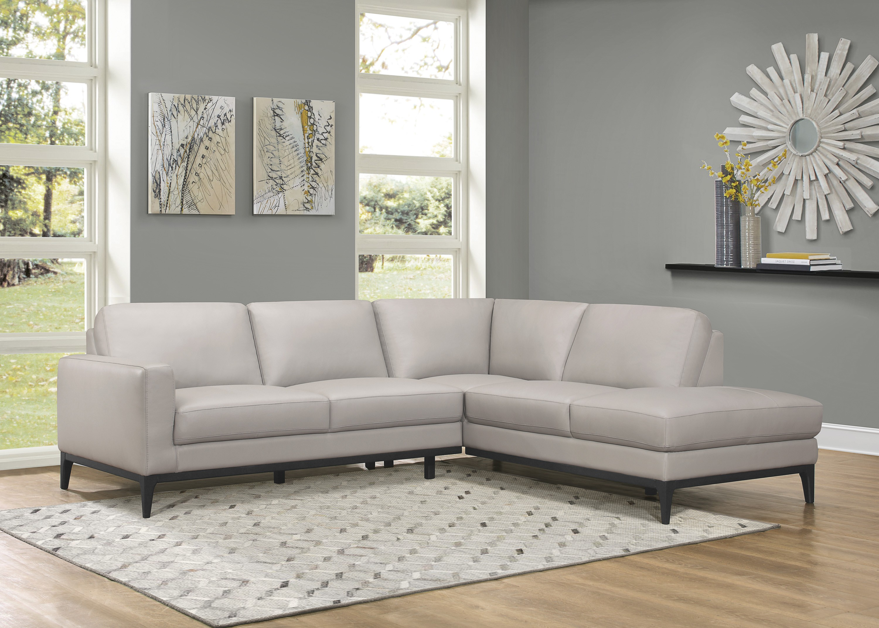 Nico Light Grey Top Grain Leather Sectional Las Vegas Furniture Store Modern Home Furniture Cornerstone Furniture
