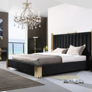 Token Modern Contemporary Black & Gold Velvet Bedroom Set Platform Bed